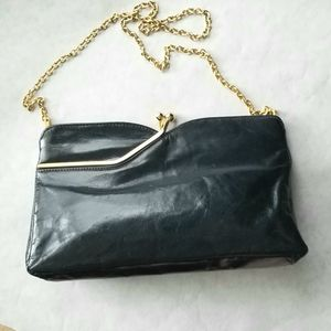 Rodo navy Italian leather clutch shoulder bag